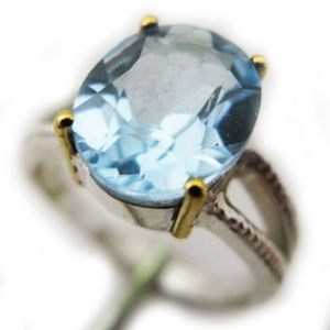 Jewelry - NEW Blue Topaz Oval Ring Sterling Silver 18K Gold